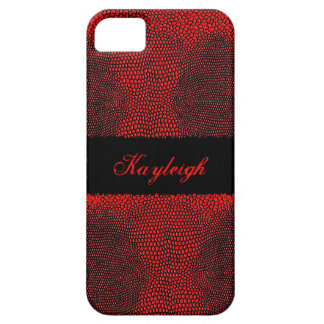 Red and Black Lizard Print Personalized iPhone SE/5/5s Case