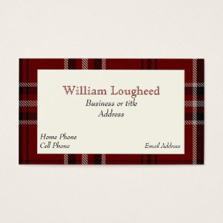 Red and Black Lougheed Scottish Tartan Plaid Business Card