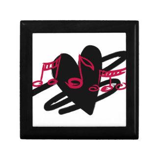 Red and black love music design jewelry box