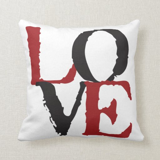 Red and Black LOVE Pillow