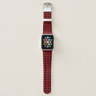 Red and Black Lumberjack Plaid Apple Watch Band