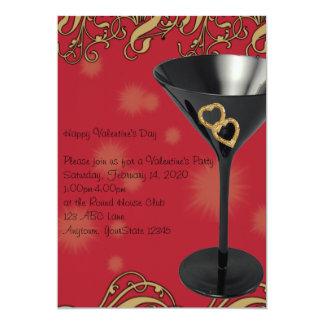 Red and Black Martini Valentine Party Invitation