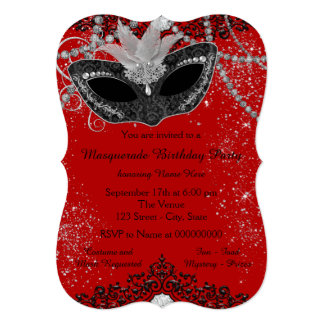 Red and Black Masquerade Party Card