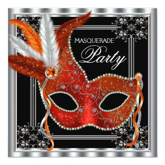 "Red and Black Masquerade Party 5.25"" Square Invitation Card"