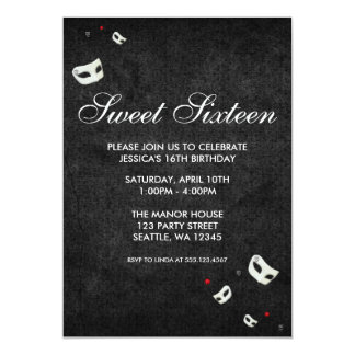 Red and Black Masquerade Sweet Sixteen Birthday 5x7 Paper Invitation Card