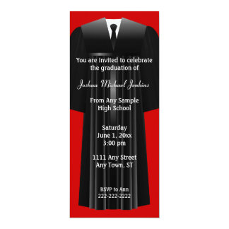 "Red and Black Mens Graduation Invitation 4"" X 9.25"" Invitation Card"