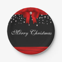 Red and Black Merry Christmas Paper Plate