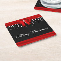 Red and Black Merry Christmas Square Paper Coaster