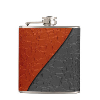 Red and Black Metallic Steel Metal 2 Hip Flask