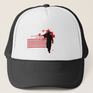 Red and Black Military logo Trucker Hat