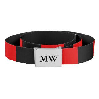 Red and black monogrammed belt