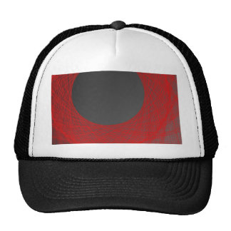 red and black  moon trucker hat