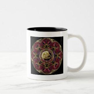 Red and Black Moon Mandala Two-Tone Coffee Mug
