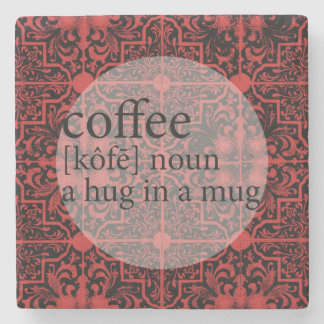 Red and Black Moroccan Tile Coffee Hug in a Mug Stone Coaster