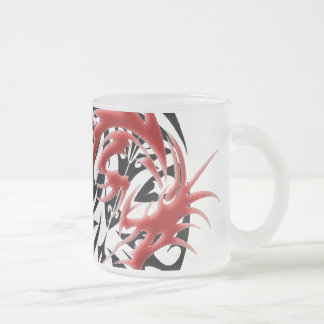Red and Black Mosaic Dragon Frosted Glass Coffee Mug
