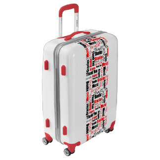 Red and Black Multilingual Thank You Word Cloud Luggage