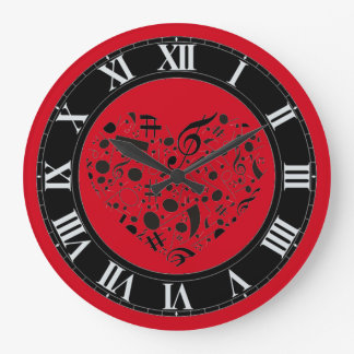 Red and Black Music Notes Heart Wall Clock