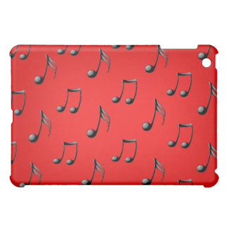 Red and Black Music Notes Pattern iPad Case