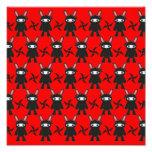 Red and Black Ninja Bunny Pattern Art Photo