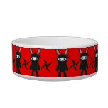 Red and Black Ninja Bunny Pattern Cat Food Bowls