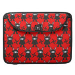 Red and Black Ninja Bunny Pattern Sleeves For MacBook Pro