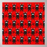 Red and Black Ninja Bunny Pattern Print