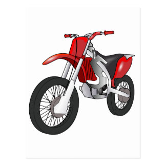Red and Black Off-Road/Enduro Motorcycle Postcard