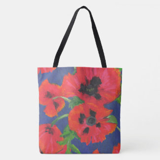 Red and Black Oriental Poppies Oil Pastels Tote Bag