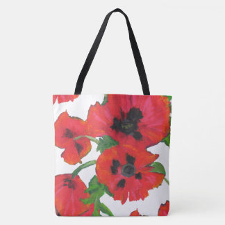 Red and Black Oriental Poppies on White Tote Bag