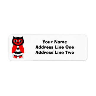 Red and Black Owl Label