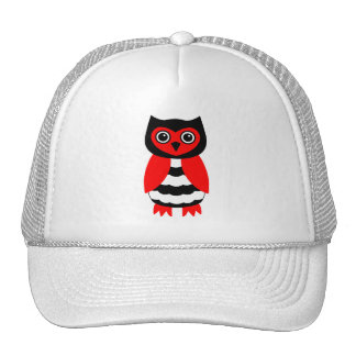 Red and Black Owl Trucker Hat