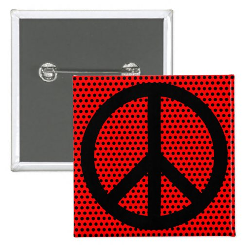 Red and Black Peace Symbol Pinback Button