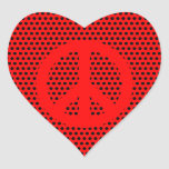 Red and Black Peace Symbol Sticker