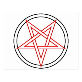 Red and Black Pentacle Inverted Postcard