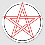 Red and Black Pentacle Round Sticker