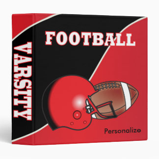 Red and Black Personalize Football 3 Ring Binder