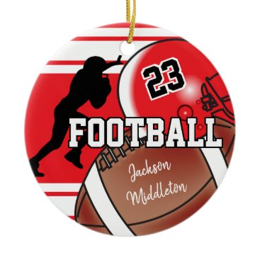 USA Themed Red and Black Personalize Football Ceramic Ornament