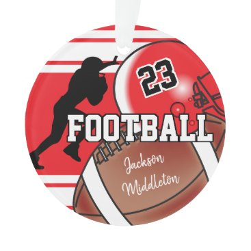 USA Themed Red and Black Personalize Football Ornament