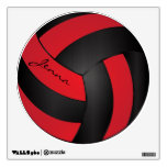 Red and Black Personalize Volleyball Room Decal
