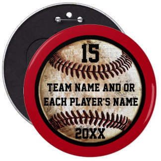 Red and Black Personalized Baseball Pins Buttons