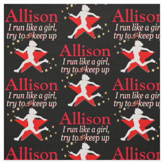 RED AND BLACK PERSONALIZED TRACK STAR FABRIC
