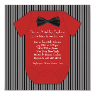 Red and Black Pinstripe Baby Shower Card