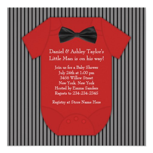Red and Black Pinstripe Baby Shower Invitations
