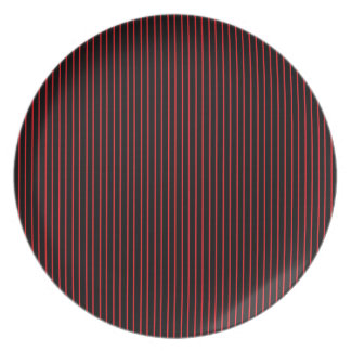 Red and Black Pinstripe Plate