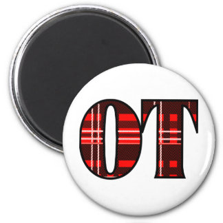 Red and Black Plaid 2 Inch Round Magnet