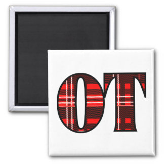 Red and Black Plaid 2 Inch Square Magnet