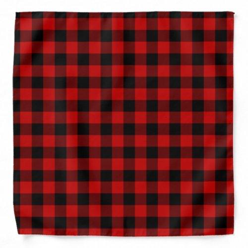 Red and Black Plaid Bandana