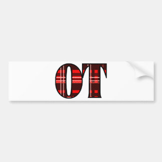Red and Black Plaid Bumper Sticker
