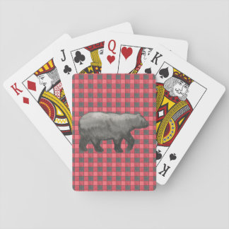 Red and Black Plaid Check Bear Cards