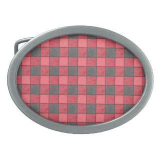 Red and Black Plaid Check Belt Buckle